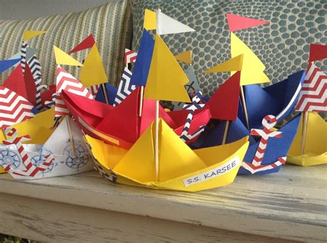 Craft Paper Boat - paper boat craft nautical karsens 1st birthday