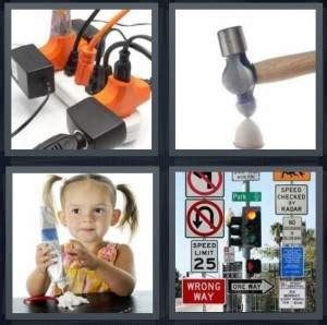 4 pics 1 word answer for cords, hammer, frosting, signs