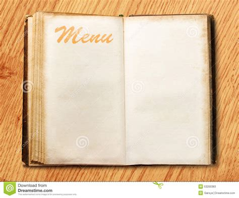 blank vintage menu book stock image image of open