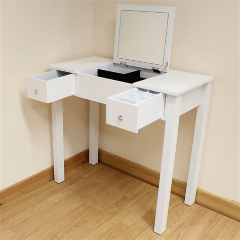 Folding Vanity Table White Dressing Room Bedroom Vanity Make Up Table Desk Folding Mirror Storage Ebay