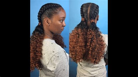 Two feed in braids with curly ponytails   YouTube