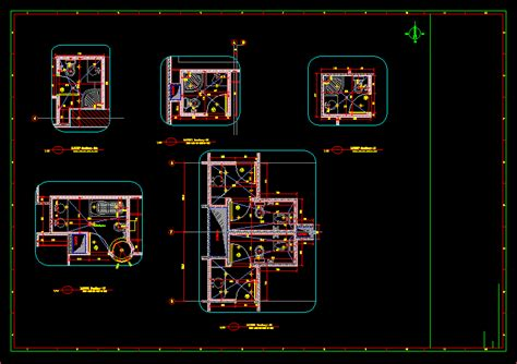 bathroom plumbing project  autocad  cad