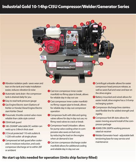 industrial gold air compressor generator welder combo unit mile x equipment