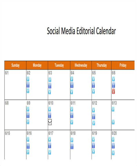 social media editorial calendar template 6 editorial calendar template exles in word pdf