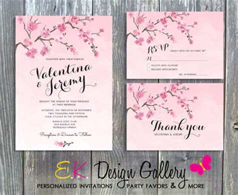 cherry blossoms wedding invitations cherry blosom floral wedding invitation set