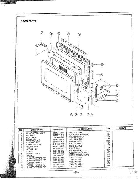 samsung microwave parts diagram door parts diagram parts list for model mw5350wxaa