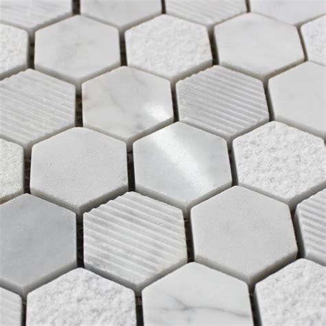 Carreaux De Marbre by Mosa 239 Que Marbre Carrare Hexagone Blanc Carrelage Mosaique