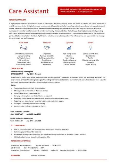 Cv Template Care Assistant health visitor cv sle how to write a cv resume