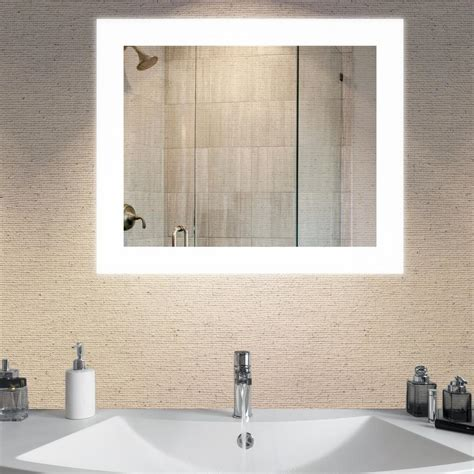 Wall Mounted Bathroom Mirror Dyconn Royal 36 In X 30 In Led Wall Mounted Backlit Vanity Bathroom Led Mirror With Touch On