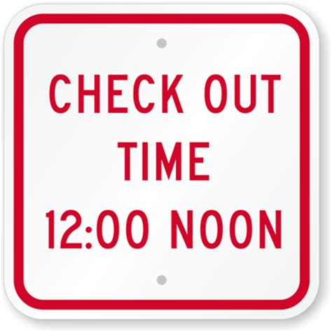 check out time 12:00 noon sign hotel and motel sign, sku