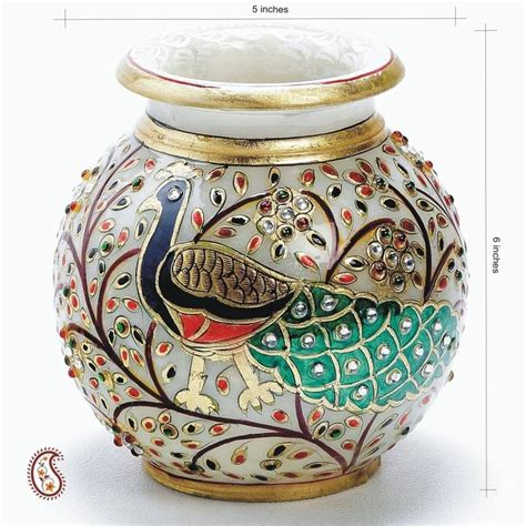 home decor handicrafts marble vases gold painted buy hand painted peacock marble pot with gold paint and