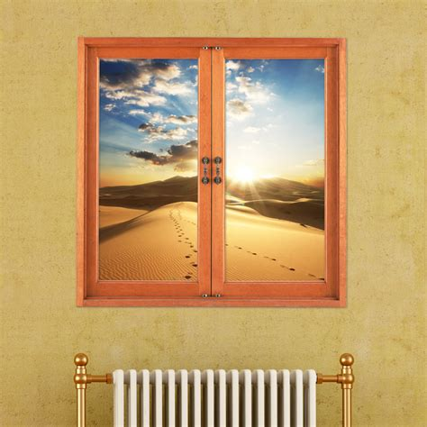 desert 3d artificial window view 3d wall decals sunset