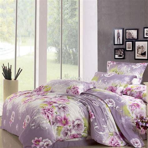 Comforter Sets King Size Bed Elegant Tolie Lavender Floral Reactive Print Cotton 4