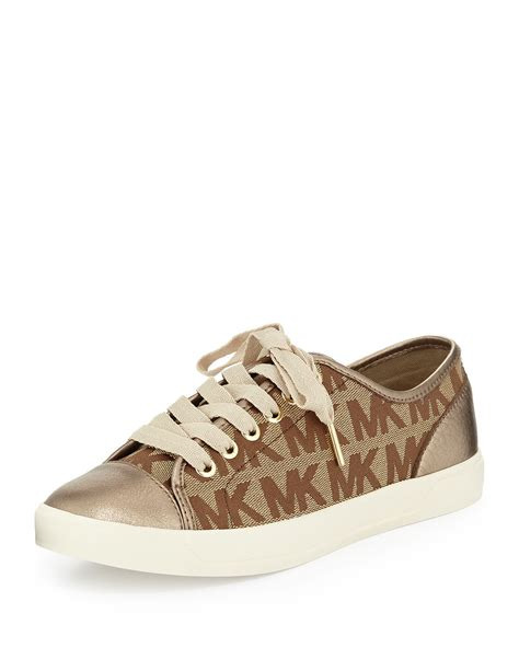 mk sneakers michael michael kors mk logo city sneaker in brown lyst