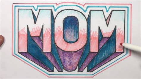 draw  block letters mom   point perspective