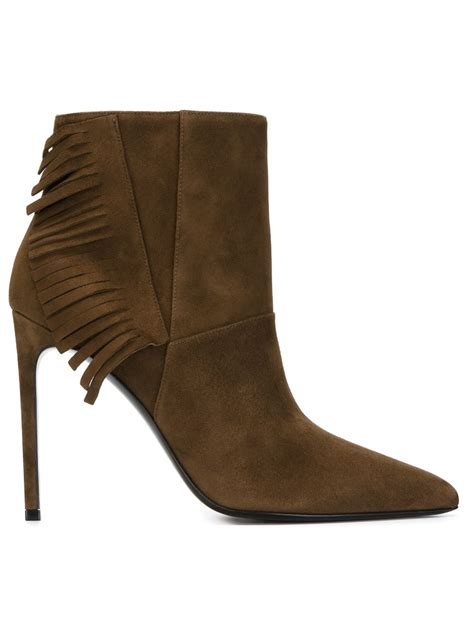 ankle boots with fringe laurent fringed ankle boots in brown save 40 lyst