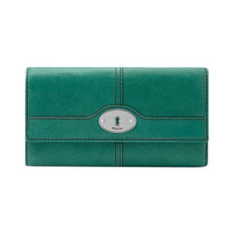 Fossil Wallet Green fossil marlow leather flap clutch wallet in green aqua lyst