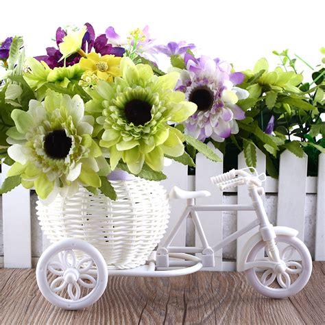 design a flower basket 2016 hot sale new plastic white tricycle bike design