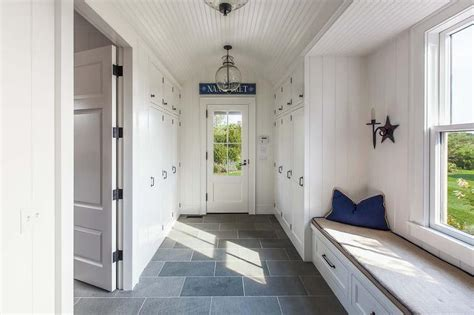 Gray Bathroom Rug Sets Long Cottage Mudroom With Beadboard Barrel Ceiling