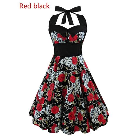 skull swing dress black skull printed 50s rockabilly swing dress flared
