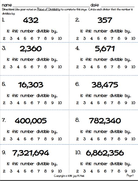 Divisibility Worksheet Answers