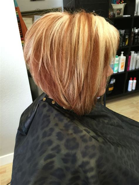 blonde and copper hairstyles copper and blonde a line bob hair styles by lauren