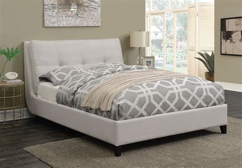 pillow top headboard amador ivory fabric queen size platform bed w tufted