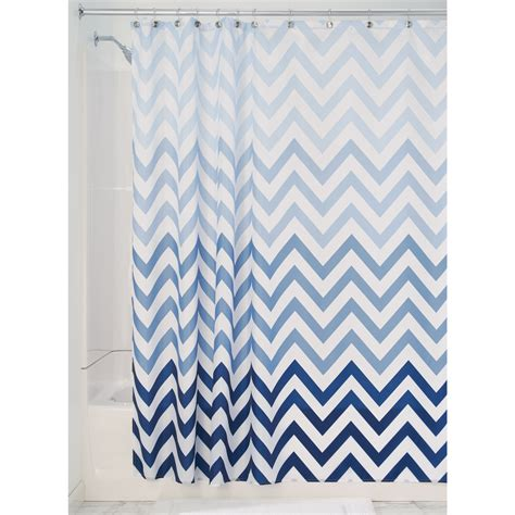 patterned shower curtain shop interdesign ombre polyester multi blues chevron