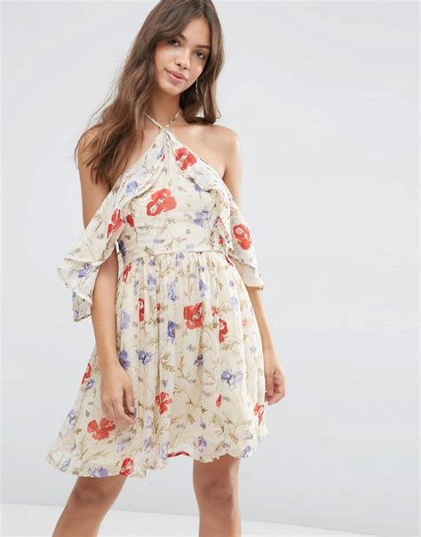 Ruffle Sleeve Vintage Dress asos asos cold shoulder mini dress with ruffle sleeve in