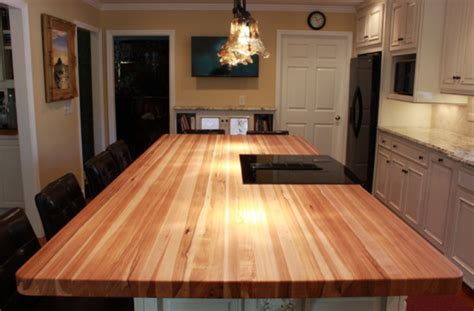 Hickory Wood Countertops by Custom Hickory Bucher Block Kitchen Island Traditional