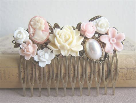 Wedding Hair Comb Bridesmaid Gift Pink Blush Cream Ivory Shabby Chic Wedding Accessories