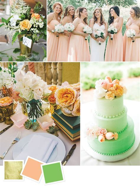 Gold   Peach   Green Good for: Outdoor summer wedding