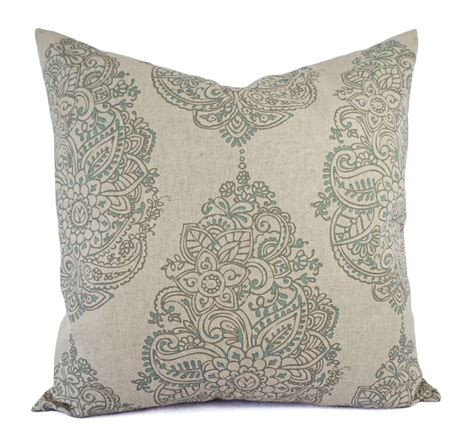 Blue Decorative Pillows Taupe And Blue Decorative Pillow Covers Two Floral Throw