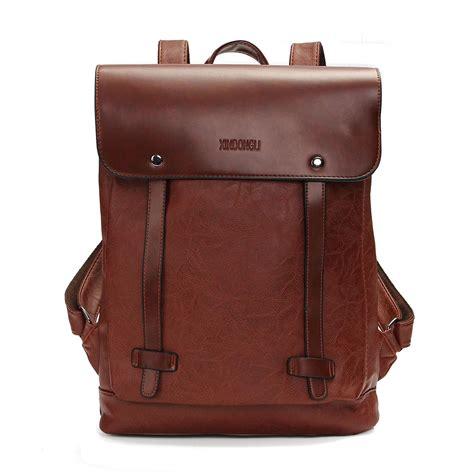 vintage backpack pu leather laptop bags school