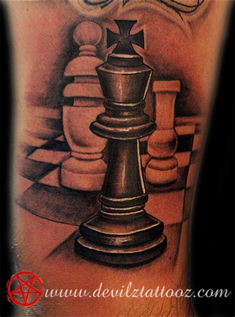 king chess piece tattoo work by artist chess king