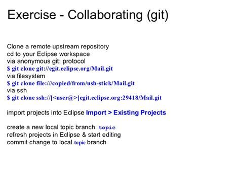 git tutorial upstream eclipsecon 2010 tutorial understanding git at eclipse