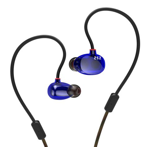 Knowledge Zenith Driver Earphone With Mic Kz Zse knowledge zenith hifi dual dynamic driver earphones with microphone kz zs2 blue