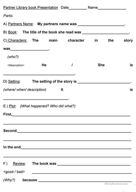 esl book report pair book report worksheet free esl printable