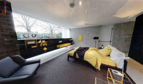 Grey Yellow And Black Bedroom by Yellow And Grey Bedroom With Fitted Storage And Black