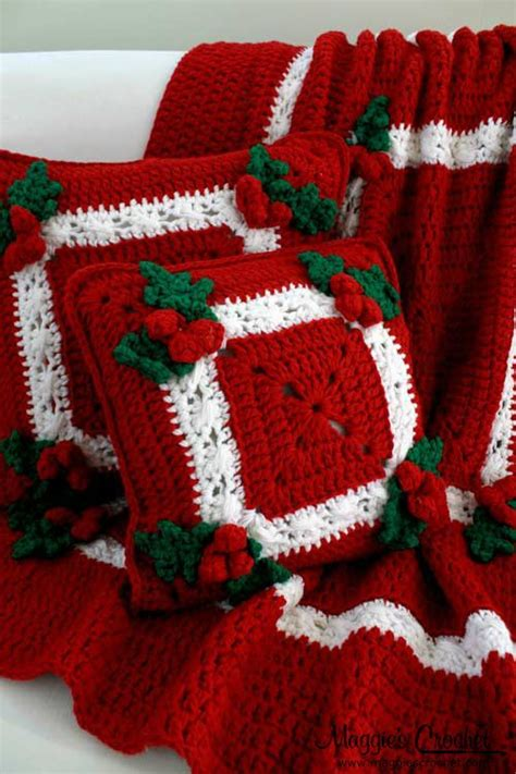 pattern christmas afghan holly berries afghan pillow crochet pattern holly