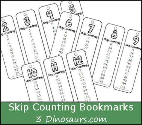printable math bookmarks free skip counting bookmarks number 2 through 12 skip
