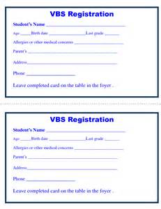 church registration card template application form registration form template for vbs