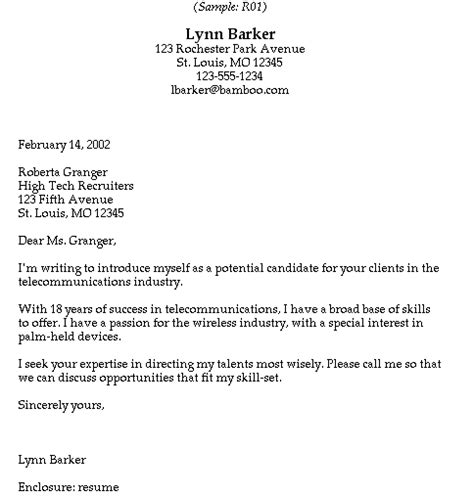 cover letter exles for recruiter position sle cover letter sle cover letter to headhunter