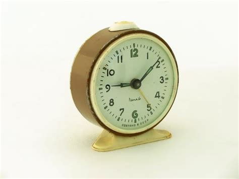 vintage alarm clock clock made in russia 70s brown