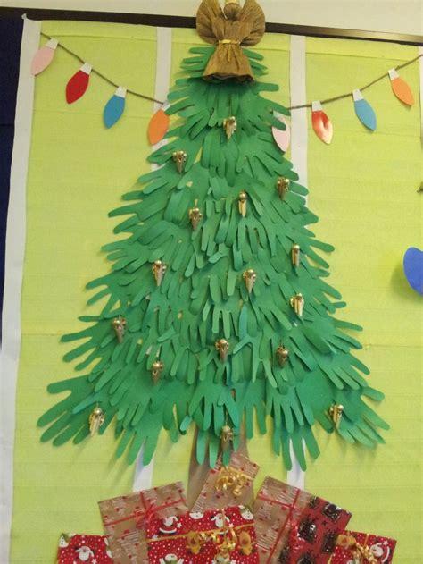 paper hands christmas tree bulletin board and door