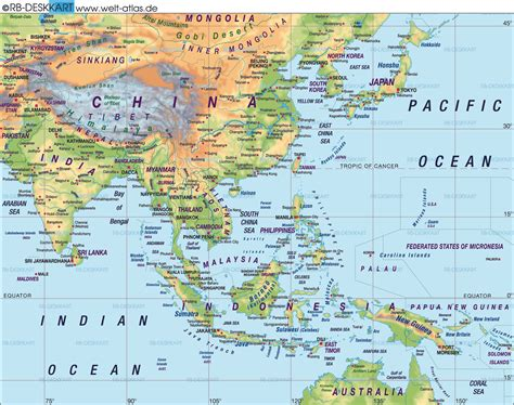 asia map atlas about east asia