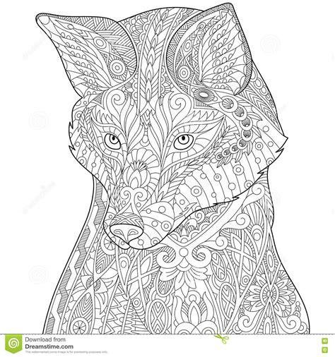 Wolf Zentangle Outline by Husky Illustrations Vector Stock Images 1356 Pictures To From