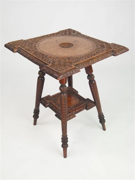 small antique indian occasional table with label 267754