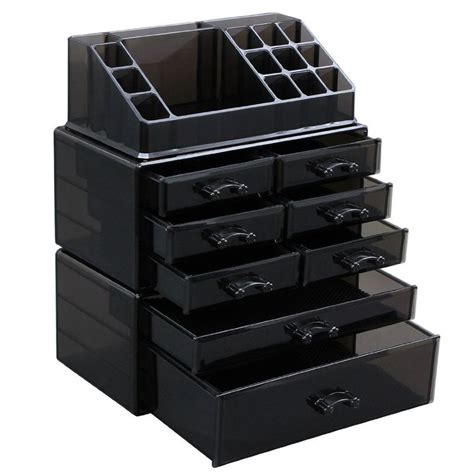 black acrylic makeup drawers black makeup beauty organizer cosmetic storage display