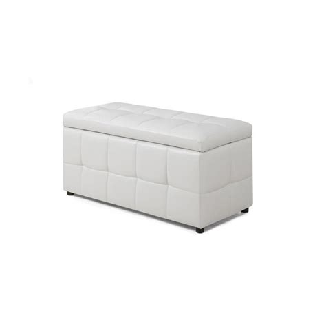 white leather ottoman storage leather storage ottoman in white i 8985